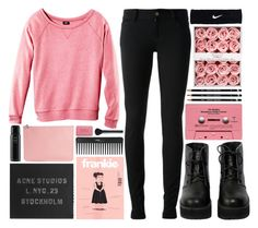 """""""pink"""" by hanadarkos ❤ liked on Polyvore featuring H&M, Gucci, CASSETTE, Sephora Collection, NIKE, The WhitePepper, Acne Studios, Alexander McQueen, Oribe and NARS Cosmetics"""