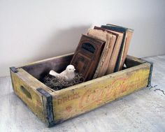 """Who knew back then that soda pop crates would be so dang popular today?"" OldTimePickers has an abundance of antique excitement, like this crate for $25 on etsy.com."