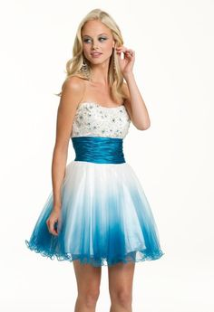 Short Ombre Strapless Dress ... from camillelavie.com on Wanelo