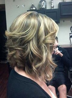 Curly Long Inverted Bob