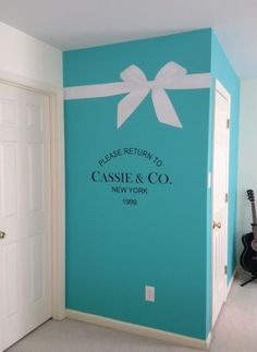 Tiffany Blue inspired bedroom painted wall