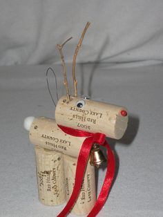 Reindeer Wine Cork Ornament. $3.50, via Etsy.