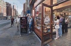 """Richard Estes - """"Lunch Specials"""" Huile sur toile 2001"""