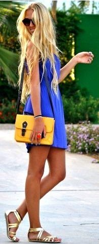 love her blue dress and gold sandals!