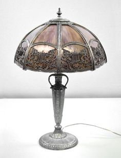 Table Lamp Slag Glass Silver Lavender Stained Antique Vintage Restored  $899.00