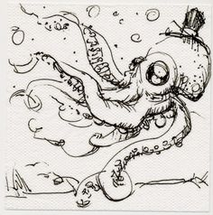 """""""Dandy Octopus"""" Brush pen on napkin. Drawn at Lot Seven in San Francisco.  By Dylan Sisson"""