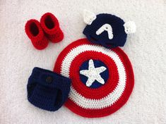 Newborn to Three Month Captain America by CrochetByClaudia on Etsy