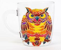 Owl Coffee Mug. Tea glass cup 11 1/4 oz. Hand Painted Colorful Mug- Orange, Red, Yellow. Birthday gift. Home decor.