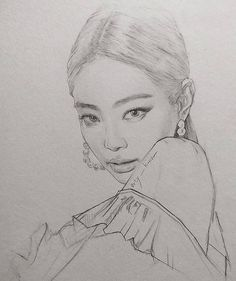 Pink Drawing, Girl Drawing Sketches, Portrait Sketches, Art Drawings Sketches Simple, Pencil Art Drawings, Realistic Drawings, Kpop Drawings, Arte Sketchbook, Celebrity Drawings