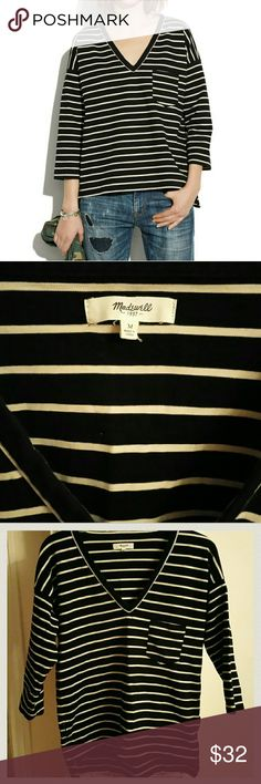 """Madewell Striped Ponte Top Worn once. Madewell Striped Ponte Top  SZ Medium  Under armpit to under armpit 19""""  Length from shoulder to end of top 24""""  PRODUCT DETAILS Is it possible to crush on a shirt? This striped slub ponte tee has the sort of cool details we can't resist: midlength sleeves, a wide V-neck and playful side zips.  Slightly oversized fit. Cotton with a hint of stretch. Machine wash. Import. Item A2686. Madewell Tops"""