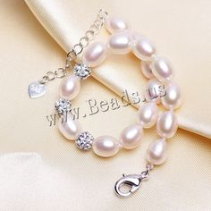 Freshwater Cultured Pearl Bracelet, Freshwater Pearl, with Clay Pave, with 5cm extender chain, Rice, natural, with rhinestone, white, 7-8mm,china wholesale jewelry beads