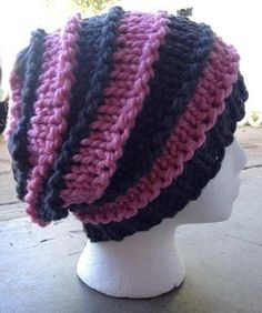 Loom Knit Bulky Striped Slouchy Hat | Craftsy