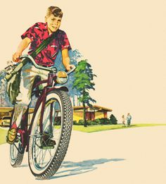 Paperboy - detail from 1961 Goodyear Bicycle tire ad. Vintage Advertisements, Vintage Ads, Vintage Prints, Goodyear Tires, Bicycle Painting, Retro Bicycle, Bicycle Tires, Retro Images, Classic Image