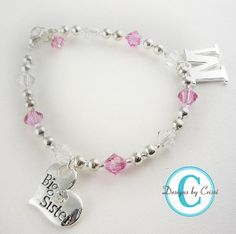 Big Sister Bracelet Personalized  Initial Gift Charm Lil Sister Custom, baby, toddler. Silver, charm, new baby arrives. $17.50, via Etsy.