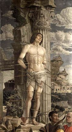 Saint Sebastian by Andrea Mantegna, Musée du Louvre, Paris, France Renaissance Kunst, High Renaissance, Renaissance Paintings, Michelangelo, Catholic Memes, Catholic Saints, Catholic Online, Patron Saints, San Sebastian Martir