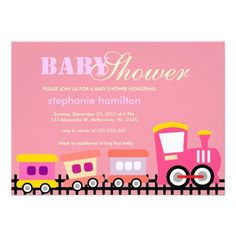 Custom transportation train baby girl shower personalized invite