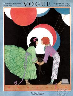 Vogue Cover - August 1917 A girl in a ruffled green dress and a boy in printed trousers and a purple shirt hold oversize balloons against a black background. This illustration, by Helen Dryden, appeared on the August cover of Vogue. Art Deco Illustration, Vintage Vogue Covers, Vogue Magazine Covers, Fashion Cover, Poster Vintage, Vintage Art, Vintage Magazines, Art Nouveau, Magazine Art