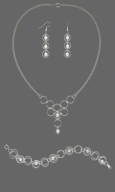 Jewelry Design - Single-Strand Necklace, Bracelet and Earring Set with Glass Pearls and Silver-Plated Jumprings - Fire Mountain Gems and Beads