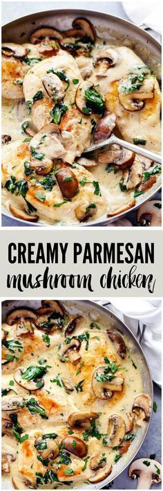 Poulet crème, champignon et ail