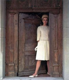 Audrey Hepburn wearing Givenchy suit and hat, photo by Howell Conant for Life magazine, May 1962