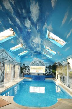 Mural for home / swimming pool - hand painted greek outdoor scene #swimmingpool
