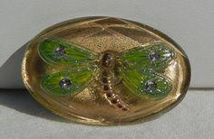 Oval Dragonfly Czech Glass Button by MostlyButtons on Etsy, $5.00
