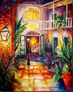 New Orleans Courtyard by Lamplight-SOLD - by Diane Millsap from Botanical Florals Art Gallery Louisiana Art, New Orleans Art, Art Portfolio, Black Art, Gouache, Art Pictures, Photos, Les Oeuvres, New Art