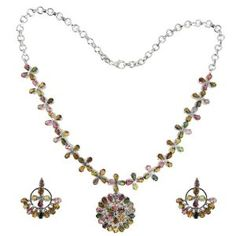 Necklace Earrings Set Sterling Silver and Tourmaline Gemstones (Jewelry)  http://documentaries.me.uk/other.php?p=B007CSVK48  B007CSVK48