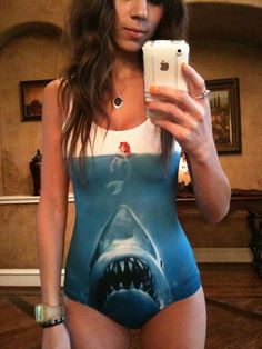 @Jessica Mosqueda I want to wear this swimsuit as a shirt to your next shark week party! Assuming I'm invited, hahaha