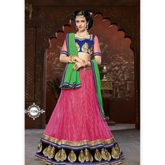 Amazing Pink And Green Net Satin A Line Lehenga Choli, Are you looking to shop fashionable lehenga choli online? AngelNX Provided offer latest and exclusive party wear and designer lehenga choli. Buy this chanderi and velvet embroidered, patch border, res Bridal Lehenga Online, Indian Bridal Lehenga, Lehenga Choli Online, Ghagra Choli, Georgette Sarees, Indian Clothes Online, Indian Sarees Online, Green Lehenga, Net Lehenga
