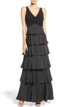I just don't find big ruffles layered down someone's whole body attractive. Do you? Aidan Mattox Tiered Satin Gown available at #Nordstrom