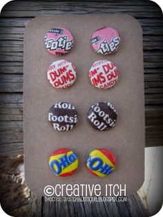 Creative Itch: Candy Wrapper Button Earrings