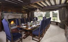 Bretteston Hall, Suffolk -- love the blue upholstery, wood beams.  Cozy!