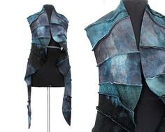 Blue and gray wool stole, felted wool scarf, hand-dye outerwear, luxury wool wrap, oversize, unstructured