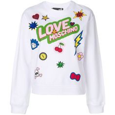 Love Moschino Sequin Patch Printed Jumper (2.948.280 IDR) ❤ liked on Polyvore featuring tops, sweaters, sequin jumper, love moschino, sequin embellished top, patch sweater and sequin patch sweater