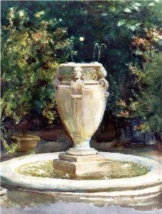 Vase Fountain, Pocantico - John Singer Sargent, 1917.
