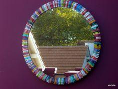 Eco -Diseño/ Bici Espejos. Espejos realizados con cubiertas de Bici recicladas, Pintados a mano./ Eco-Design / Bike Mirrors. Mirrors made with recycled bike covers, hand painted. https://www.facebook.com/168693243205110/photos/a.614219118652518.1073741867.168693243205110/614219591985804/?type=1&the