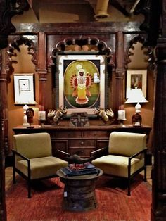 Primitive Art gallery Small Living Rooms, Pooja Rooms, Traditional House, Traditional Furniture, Indian Decor, Home Decor, Interior Art, Creative Home, Indian Interiors