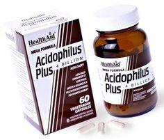 Acidophilus Plus. Indicado después de la toma de antibioticos,La administración de probióticos puede ayudar a regenerar la flora intestinal simbiótica y regular nuestro aparato digestivo permitiendo una correcta digestión. Ingredientes:  Lactobacillus Acidophilus: 2 billones (por cápsula).  Bifidobacterium Bifidum: 1 billón (por cápsula).  Lactobacillus Bulgaricus: 1 billón (por cápsula).  Fructooligosacáridos: 100 mg (por cápsula). Flora Intestinal, Lactobacillus Acidophilus, Jack Daniels Whiskey, Whiskey Bottle, Natural Remedies, Drinks, Food, Enabling, Gadgets