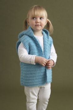 Darling girl or boy crochet hooded vest, pattern in 3 sizes...couldn't get to the page, but it's sponsored by Michael's so should be easy to find.