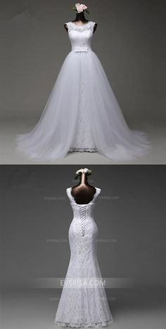 cebf015ef6b92 White Detachable Skirt Sleeveless Lace Bridal Gown Affordable Wedding  Dresses