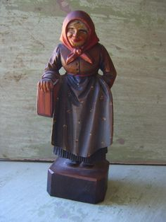 A vintage folk art hand-carved & painted wooden figurine - Black Forest - circa 1930s-1940s.  A charming vintage folk art carving, very finely carved and detailed with lovely hand-painting. Most probably from the Black Forest region of Germany or from Austria, circa 1930s-40s. It is approx. 6 by 2 and in good condition.  ***You may like to look at the other items for sale in my store, I offer free/reduced combined shipping standard air mail on many items…