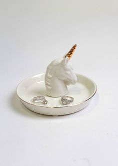 Gold Unicorn Ring Dish - White Faux Taxidermy Jewelry Holder - Faux Gold Unicorn…