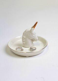 Gold Unicorn Ring Dish - White Faux Taxidermy Jewelry Holder - Faux Gold Unicorn…