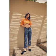 GROMMET VINTAGE JEAN (11.575 RUB) ❤ liked on Polyvore featuring eyelet jeans, beige jeans and vintage jeans