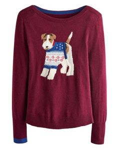Joules Womens Character Knit Jumper, Mulled Wine Burgundy.                     Crafted for a super-soft feel and adorned with a new design animal intarsia that is guaranteed to raise a smile whenever it makes an appearance, this jumper is great to add a bit of character to your wardrobe.