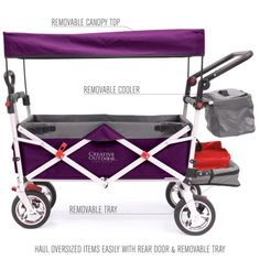 Push Pull Folding Wagon Stroller with Canopy 900569 Purple/Gray can be pulled like a wagon or pushed like a stroller. Perfect for mothers with children. Folding Cart, Folding Wagon, Purple Grey, Pink, Baby Trolley, Soft Sided Coolers, Car Trunk, Kids Seating, Beach Picnic