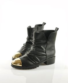 Black Boots with Pleated Upper and Metal Tip. if only it didn't have the ruche...