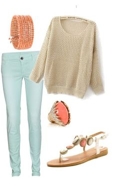 Oversized tan sweater, light mint colored pants, coral bracelet, coral and gold ring, and white coral sandals, really cute outfit for spring or summer, but it would still work for fall or winter