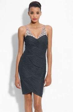 Adrianna Papell Illusion Bodice Mesh Sheath Dress available at Nordstrom - in Magenta $198
